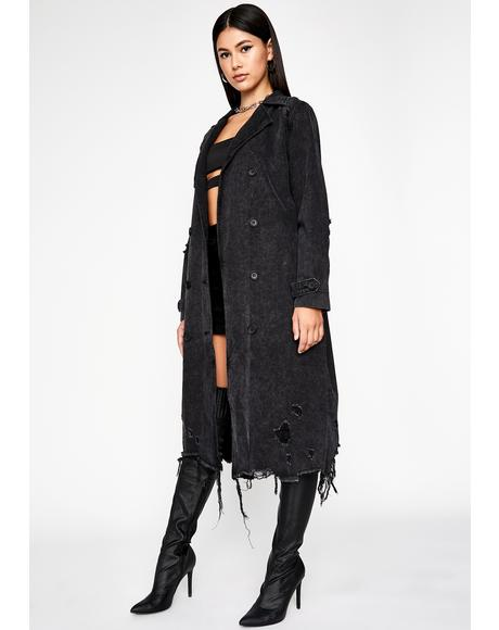 Dark Mystery Solved Denim Trench