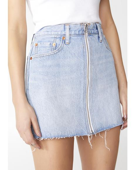 Deconstructed Zip Denim Skirt