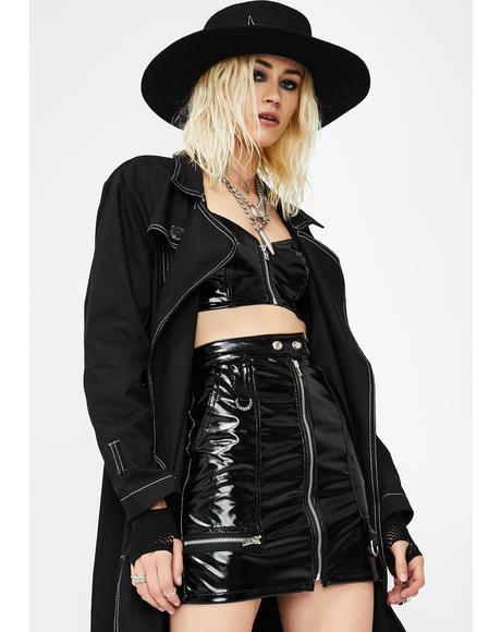 Vinyl Zip Skirt