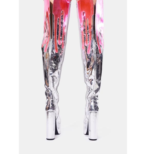 Club Exx Melt Your Mind Metallic Thigh High Boots