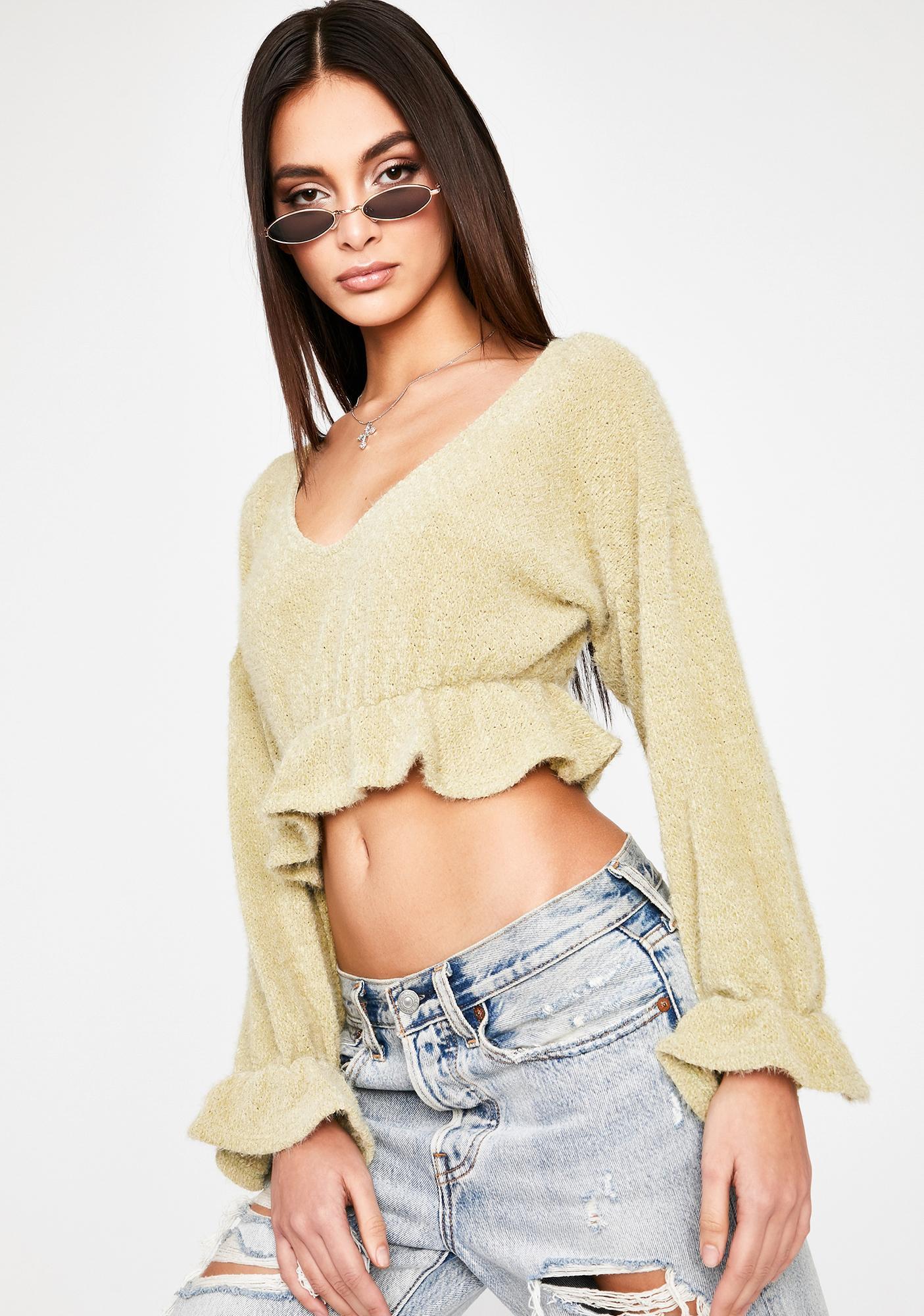 Sage Fine By Me Crop Sweater