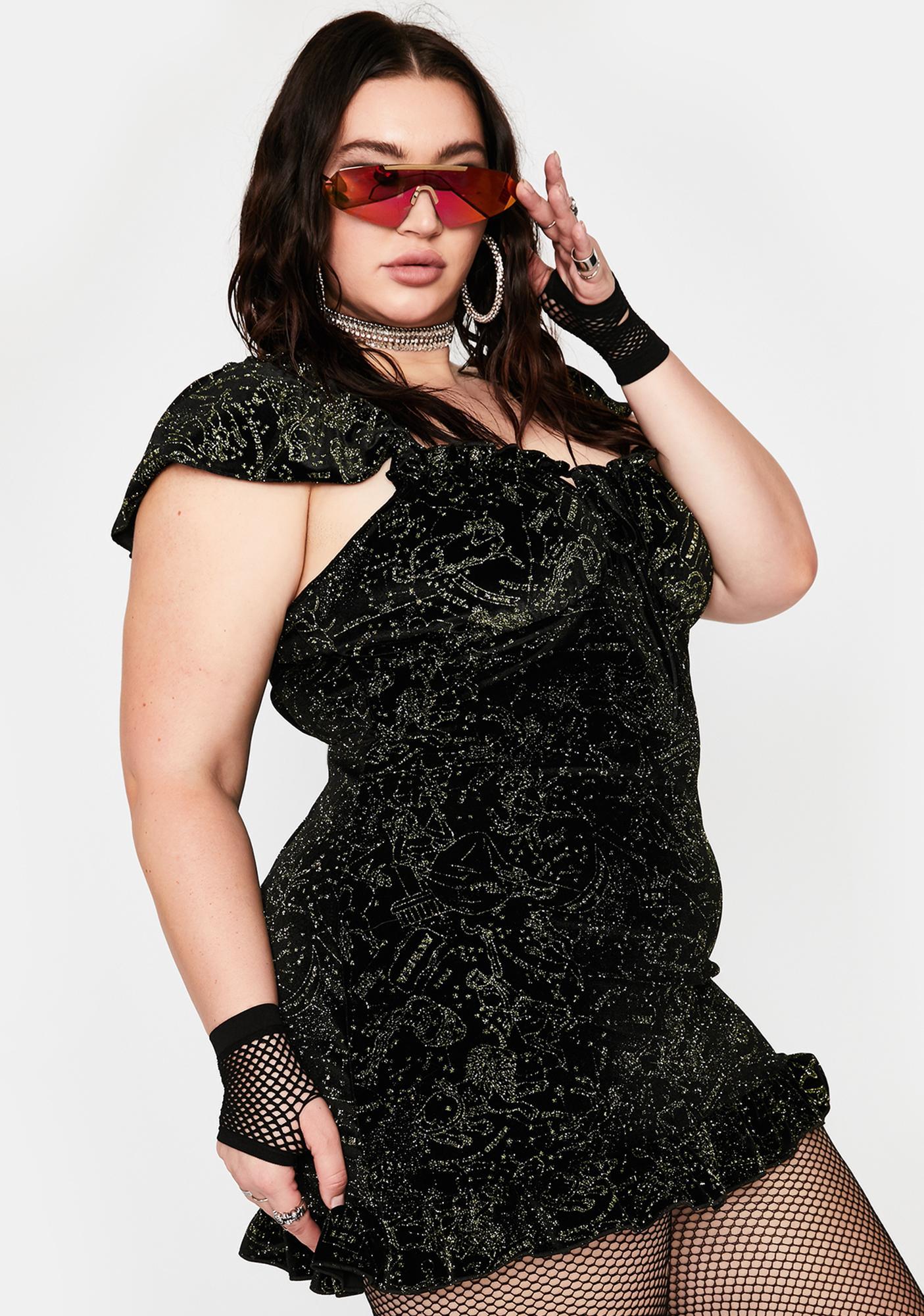 NEW GIRL ORDER Plus Velvet Glitter Constellation Dress