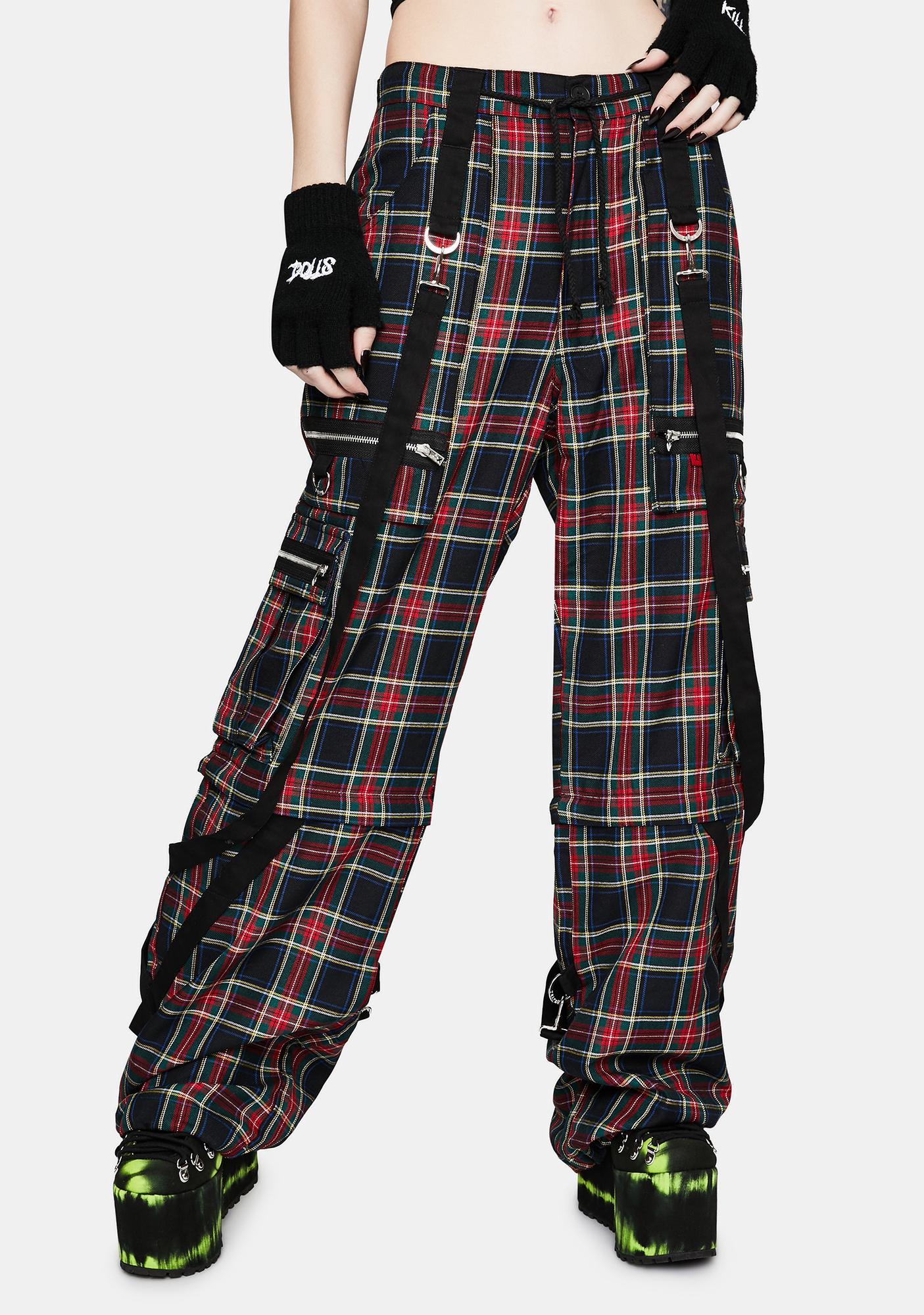 Tripp NYC Strap To Strap Plaid Pants