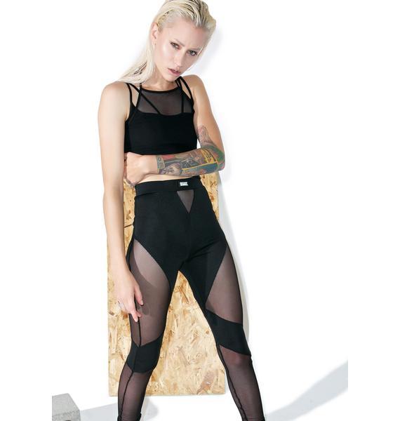 Shade London Black Mesh Cutout Leggings