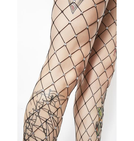 Midnight Star Foxx Embellished Fishnets