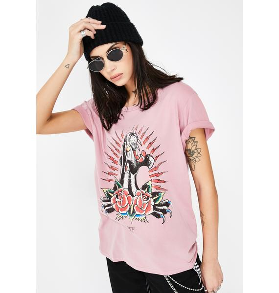 Ed Hardy Panther Roses Washed Graphic Tee