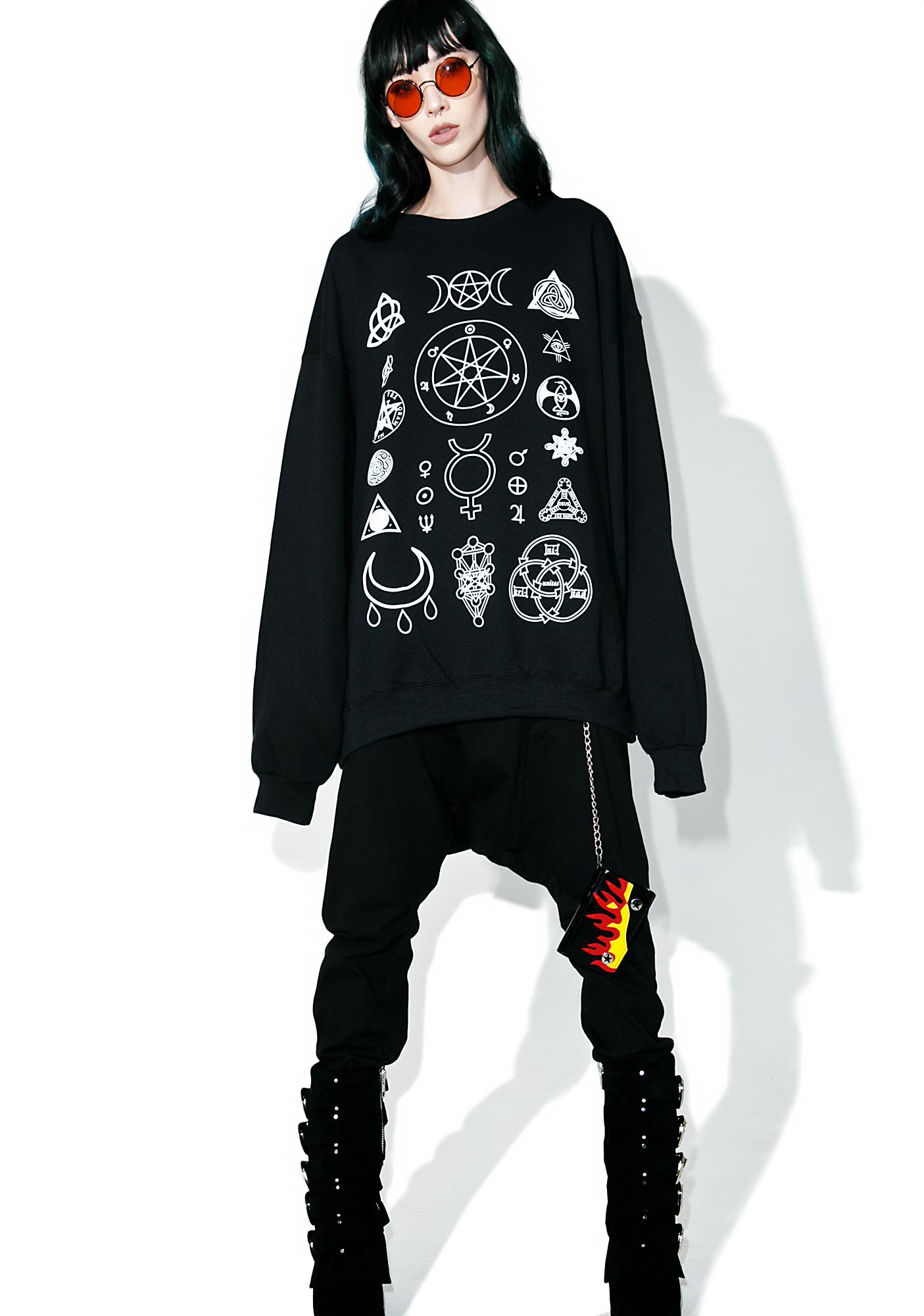 Witch Worldwide Witch Symbols Oversize Sweatshirt