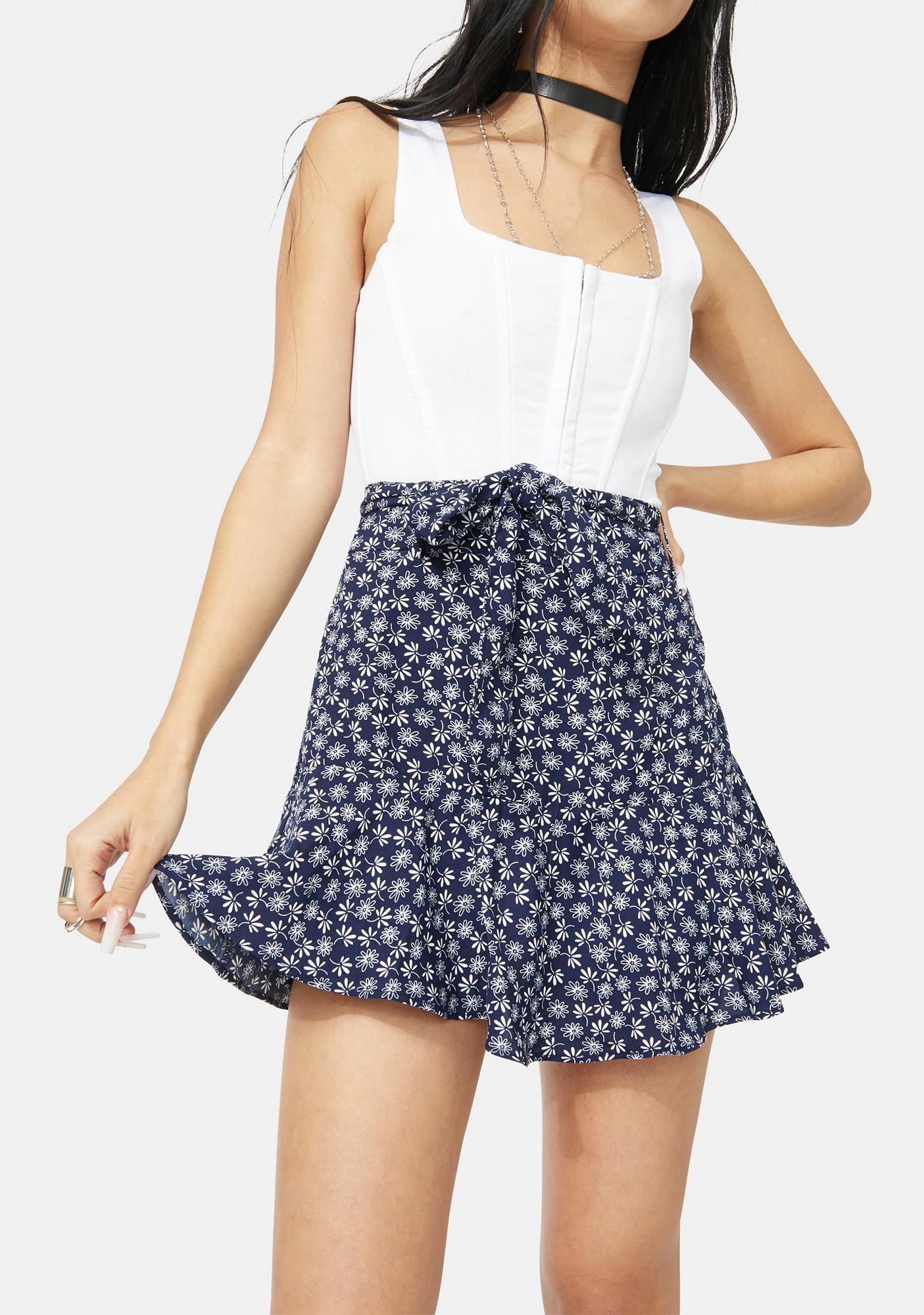 Floral Tie Waist Wraparound Mini Skirt - Navy Blue | Dolls Kill
