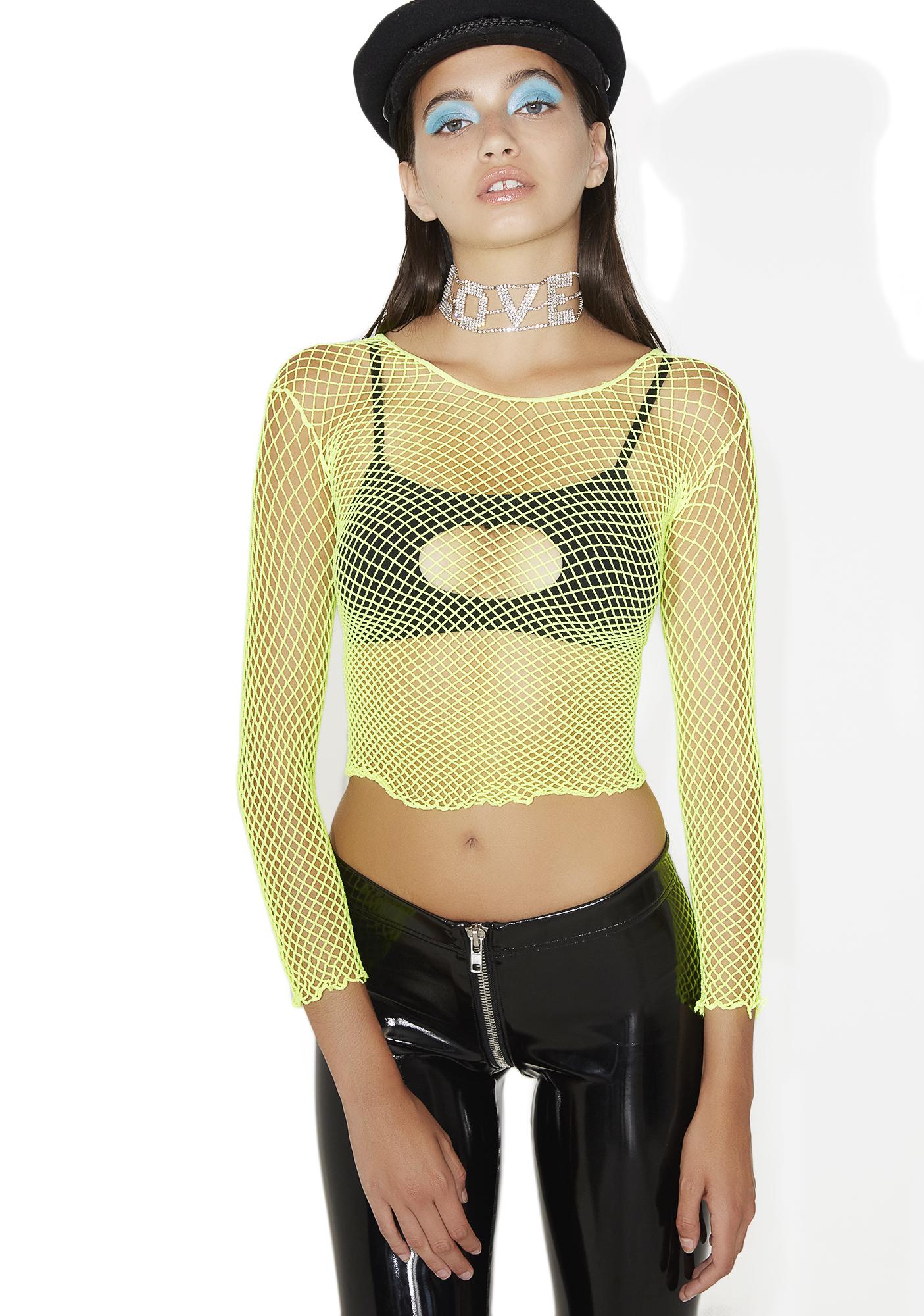 Neon Green Fishnet Crop Top