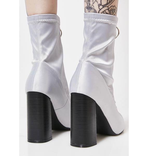 Public Desire Gloomy Sceptic Zip Front Lycra Ankle Boots