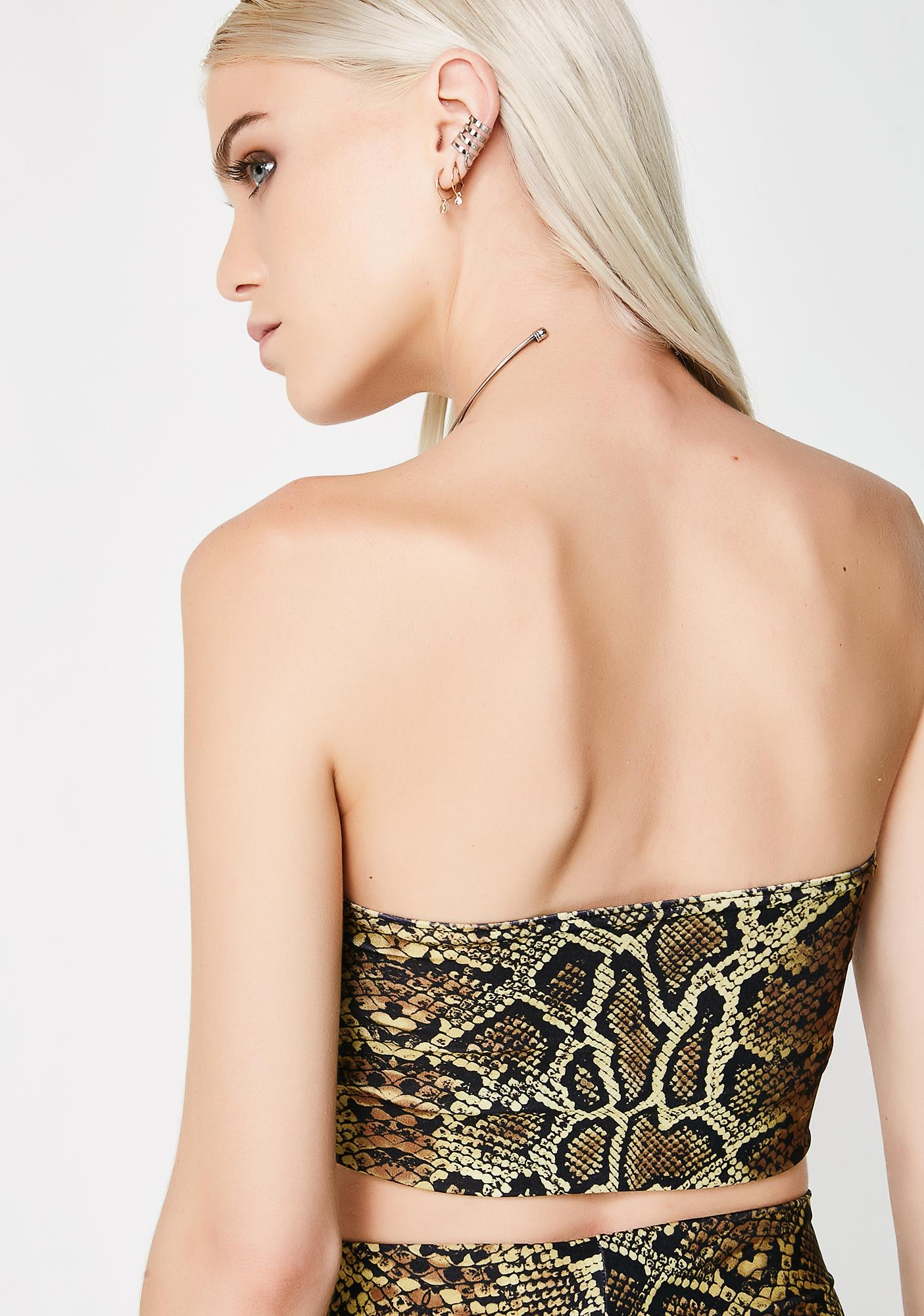 Soulan Zee Brown Snake Skin Tube Top
