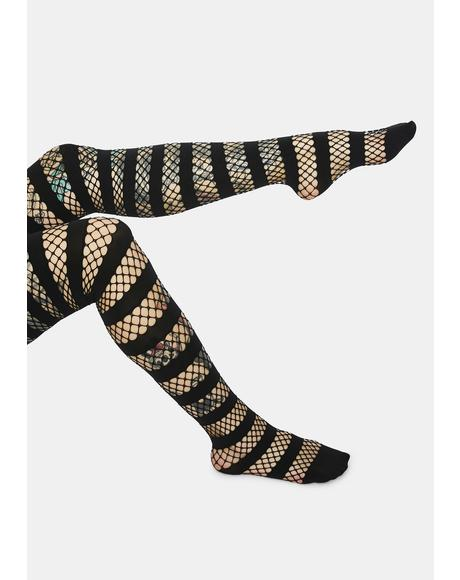 Bad Temper Striped Fishnet Tights