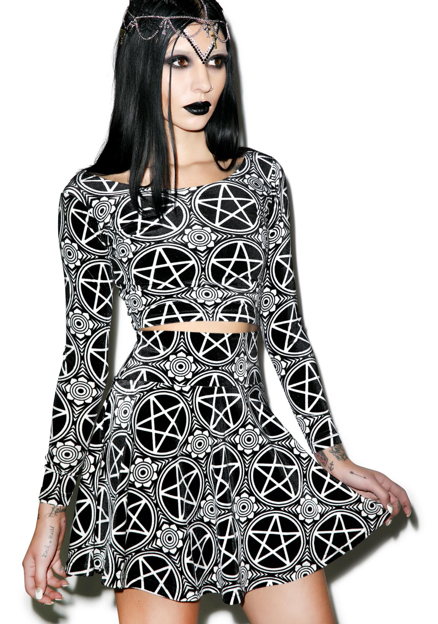 Killstar Pentagram Velvet Skater Skirt