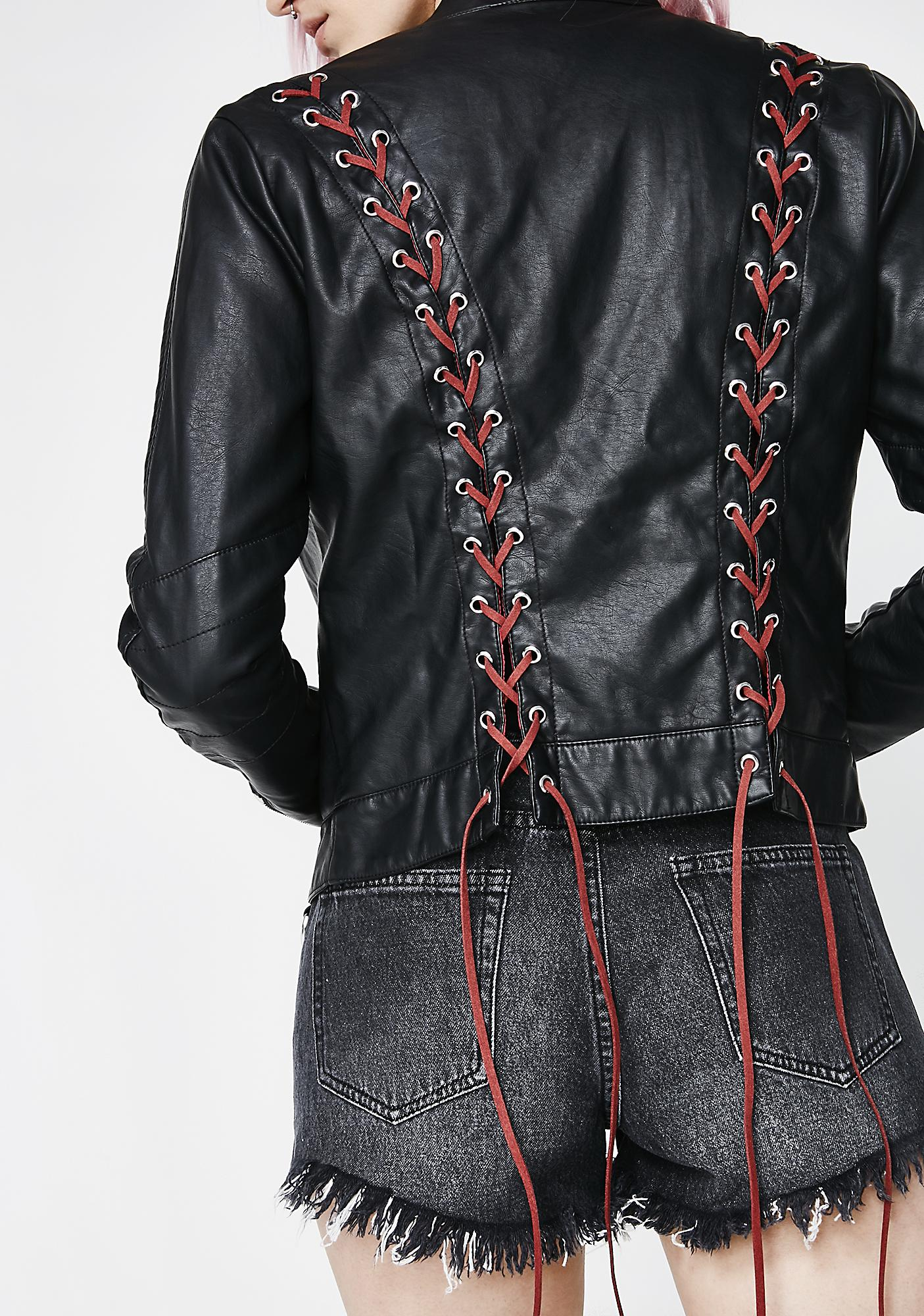 Current Mood Bat Outta Hell Lace-Up Moto Jacket