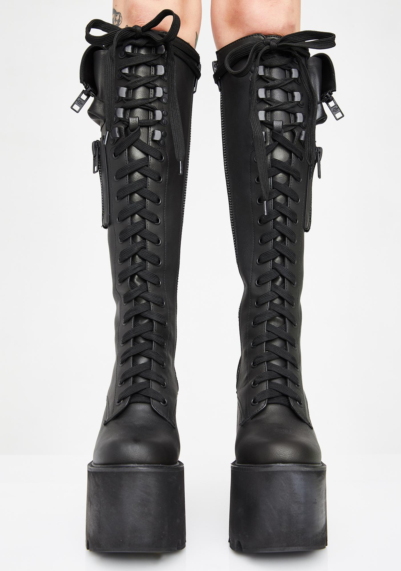 cdaca562e233e Current Mood Obsidian Platform Boots Black | Dolls Kill