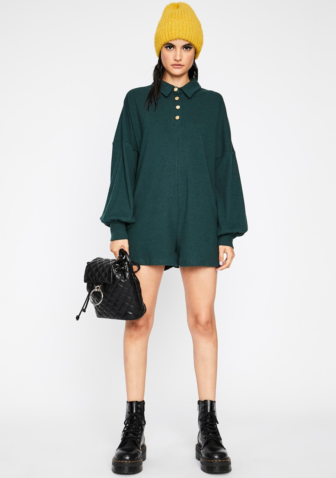 Pine Work From Home Long Sleeve Romper