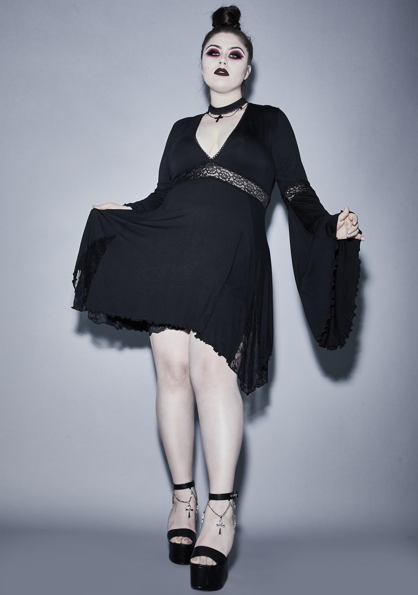 Widow Ur Funeral Parade Bell Sleeve Dress