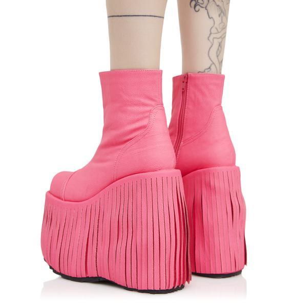 Demonia Neon Dance Kraze Fringed Platform Boots