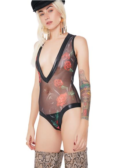 Take You Down Sheer Rose Bodysuit