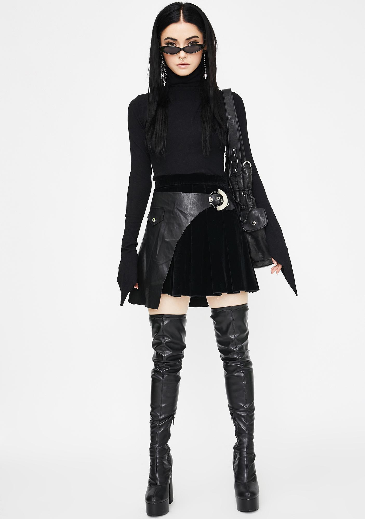 Punk Rave Pleated Stitching Half Skirt