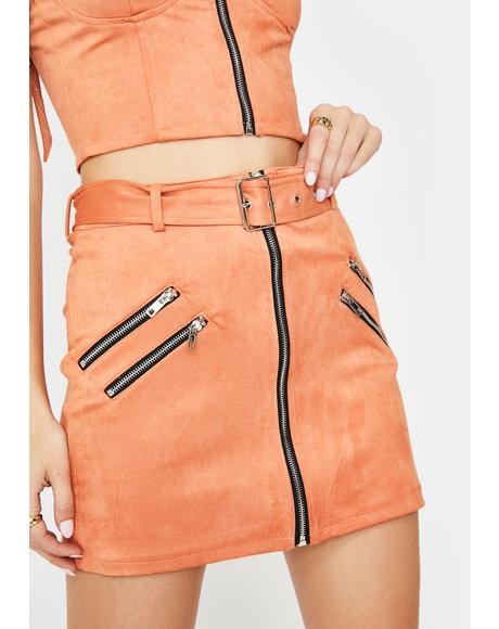 Salmon Zip Mini Skirt