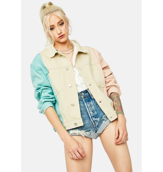 Creative Energy Colorblock Denim Jacket