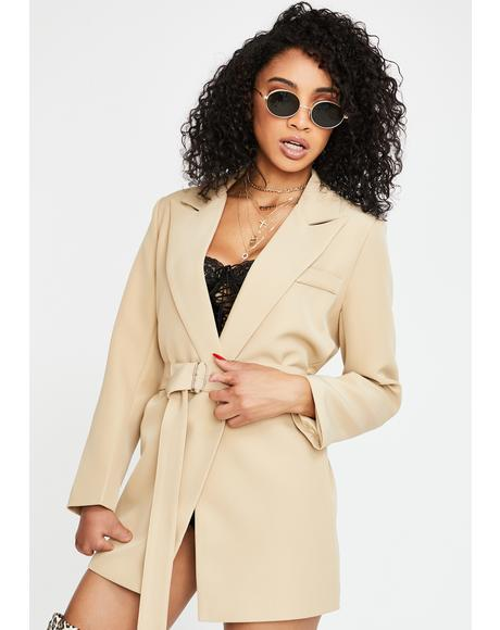 Tan Leader Blazer Jacket Dress