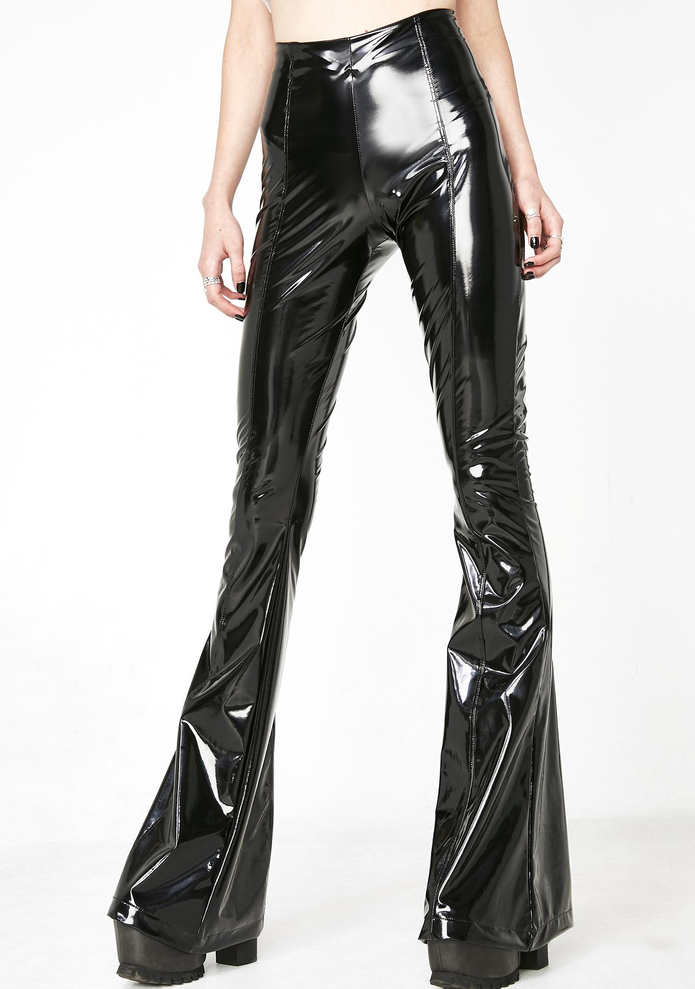 Grayscale PVC Flare Pants