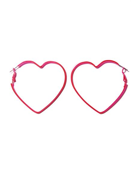 Bubblegum Can't Buy Me Love Hoop Earrings