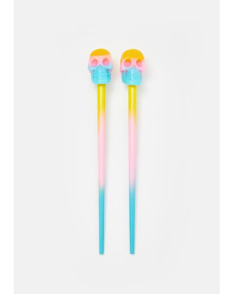 Rainbow Skull Hair Sticks