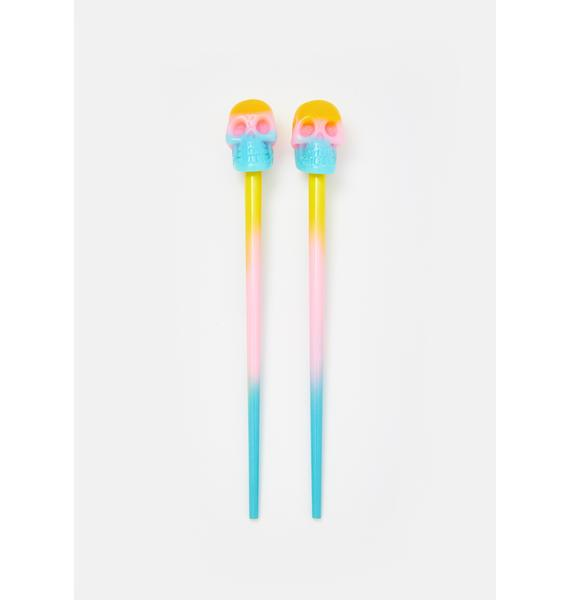 Kreepsville 666 Rainbow Skull Hair Sticks