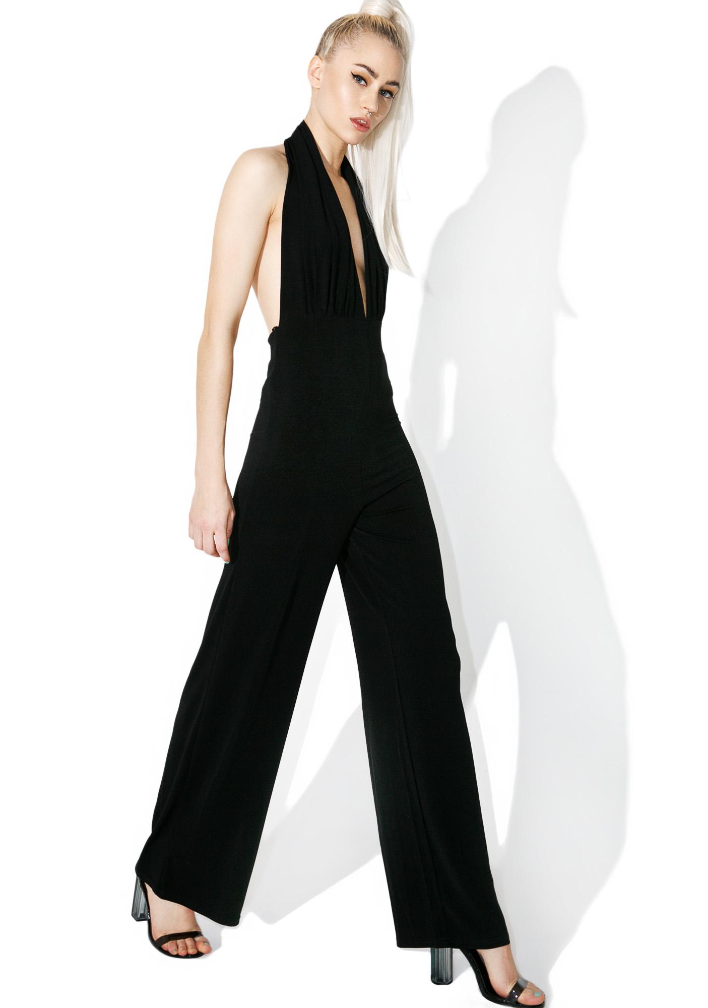 Deep V Open Back Black Jumpsuit