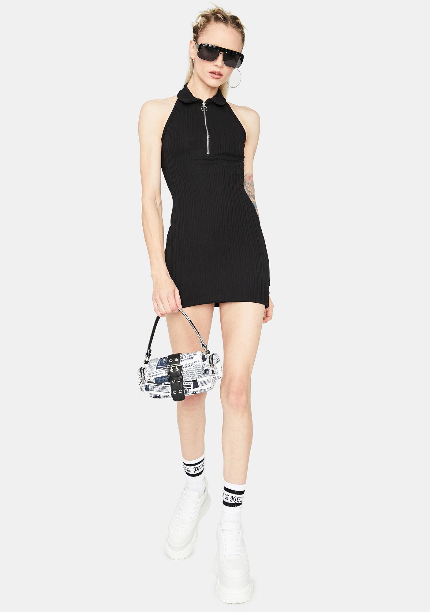 On The Go Ribbed Halter Dress
