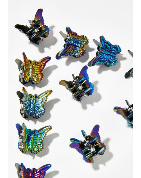 Metallic Butterfly Clips