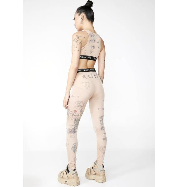 TATTOOSWEATERS Printed Mesh Leggings