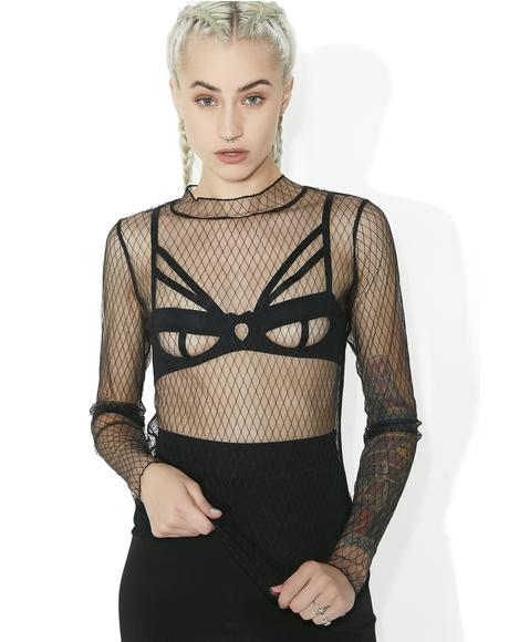 Danger Zone Mock Neck Fishnet Top