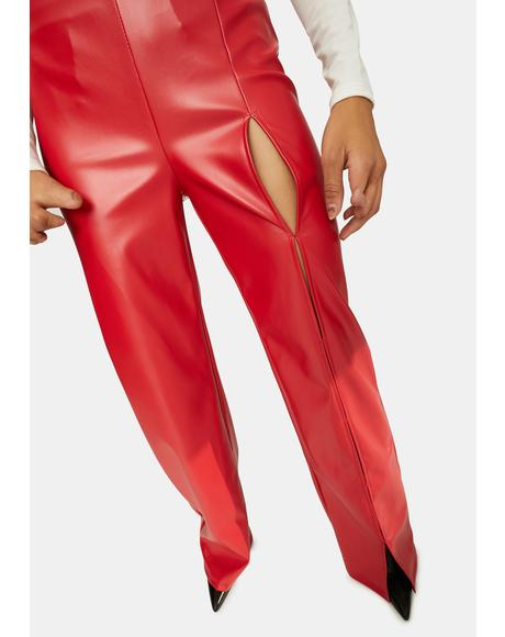 Cherry Set The Trend Vegan Leather Pants