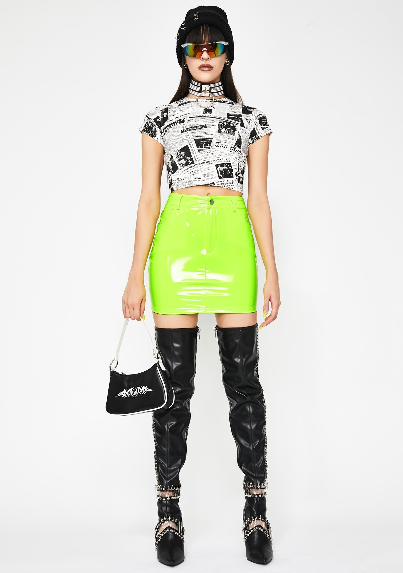 Lime Taste The Sass Vinyl Skirt