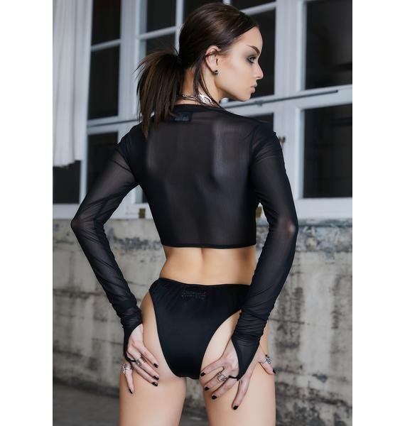DARKER WAVS Kickdrum Mesh Garter Long Sleeve Top