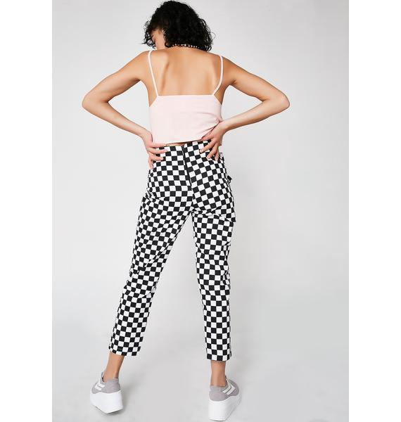 LOVE TOO TRUE Checkered Tie Trousers