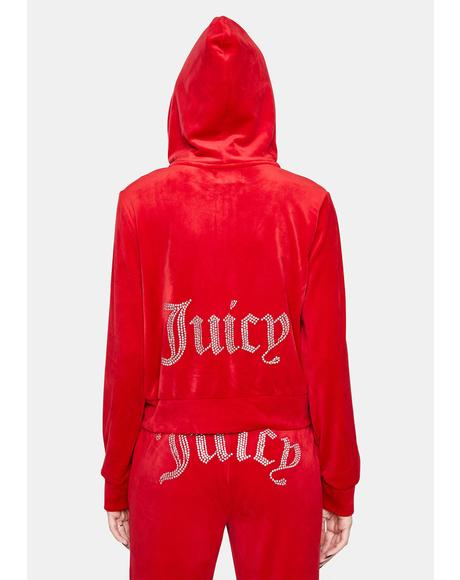 Coco Red Juicy Logo Zip Up Hoodie