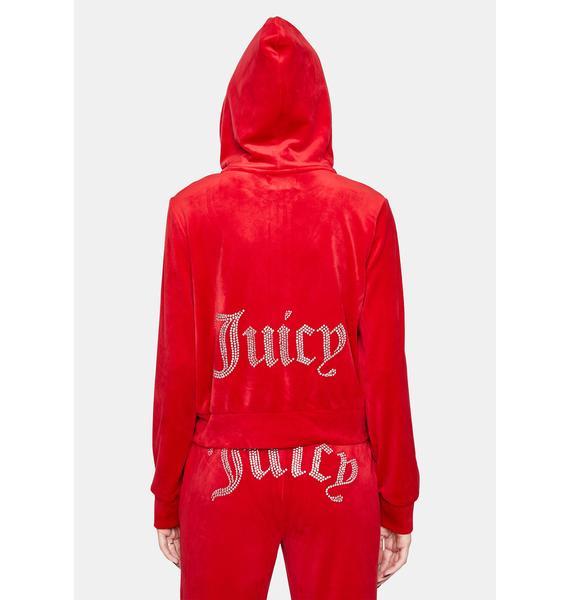 JUICY COUTURE Coco Red Juicy Logo Zip Up Hoodie