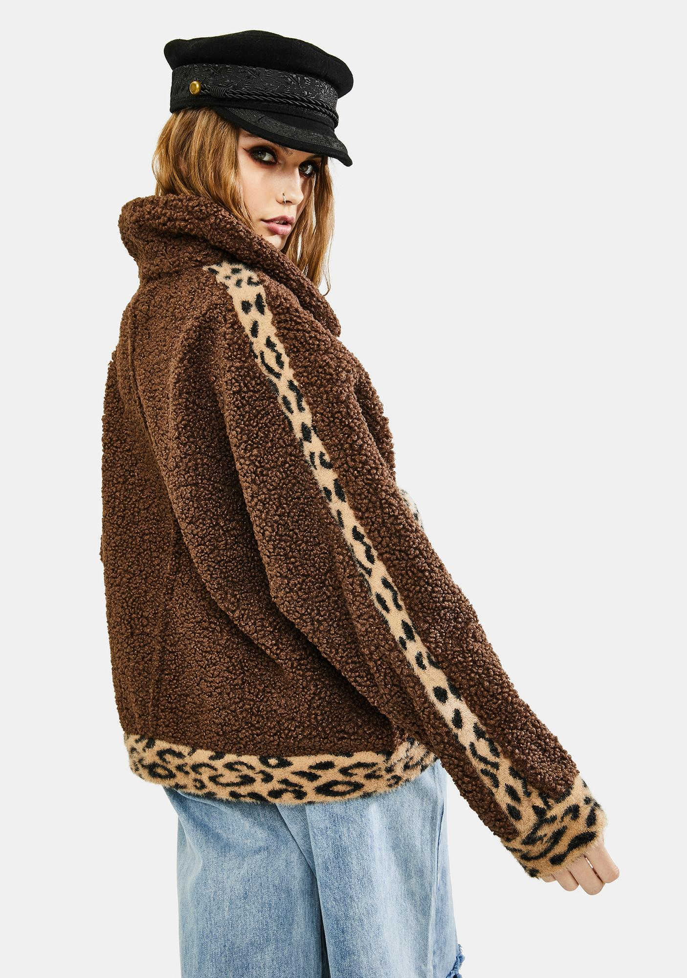 VIGOSS Brown Leopard Sherpa Jacket