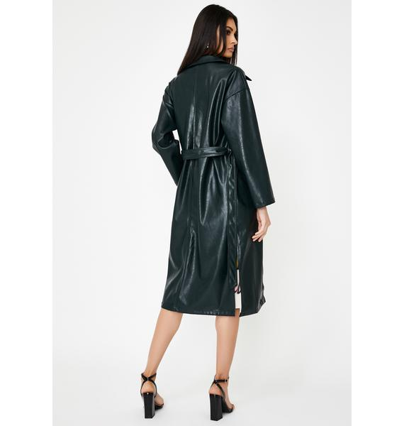 Alzang Bottle Green Vegan Leather Trench Coat