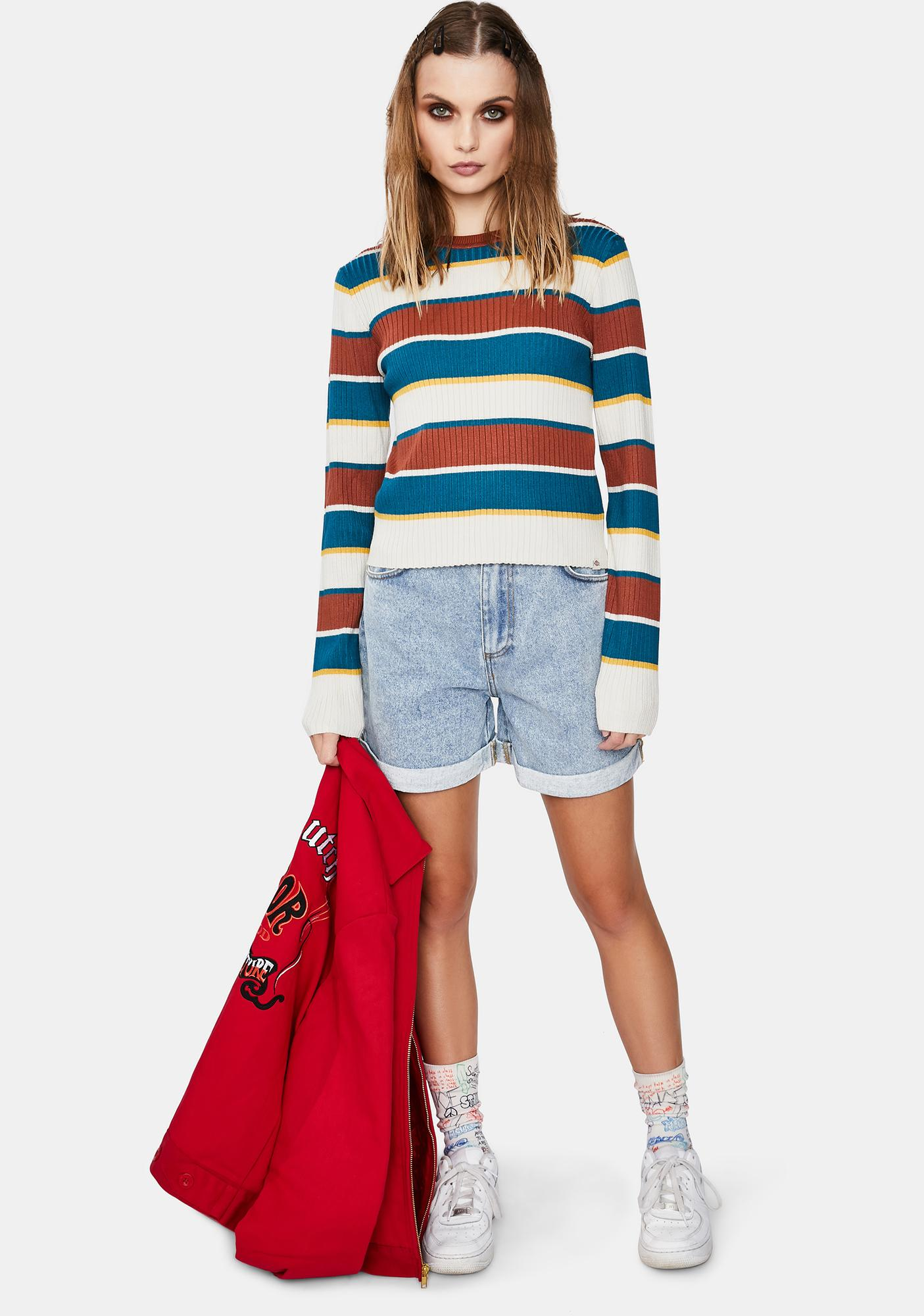 Dickies Girl Auburn Deep Sky Striped Sweater