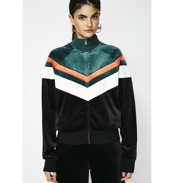 JUICY COUTURE Colorblock Lightweight Velour Palisades Jacket