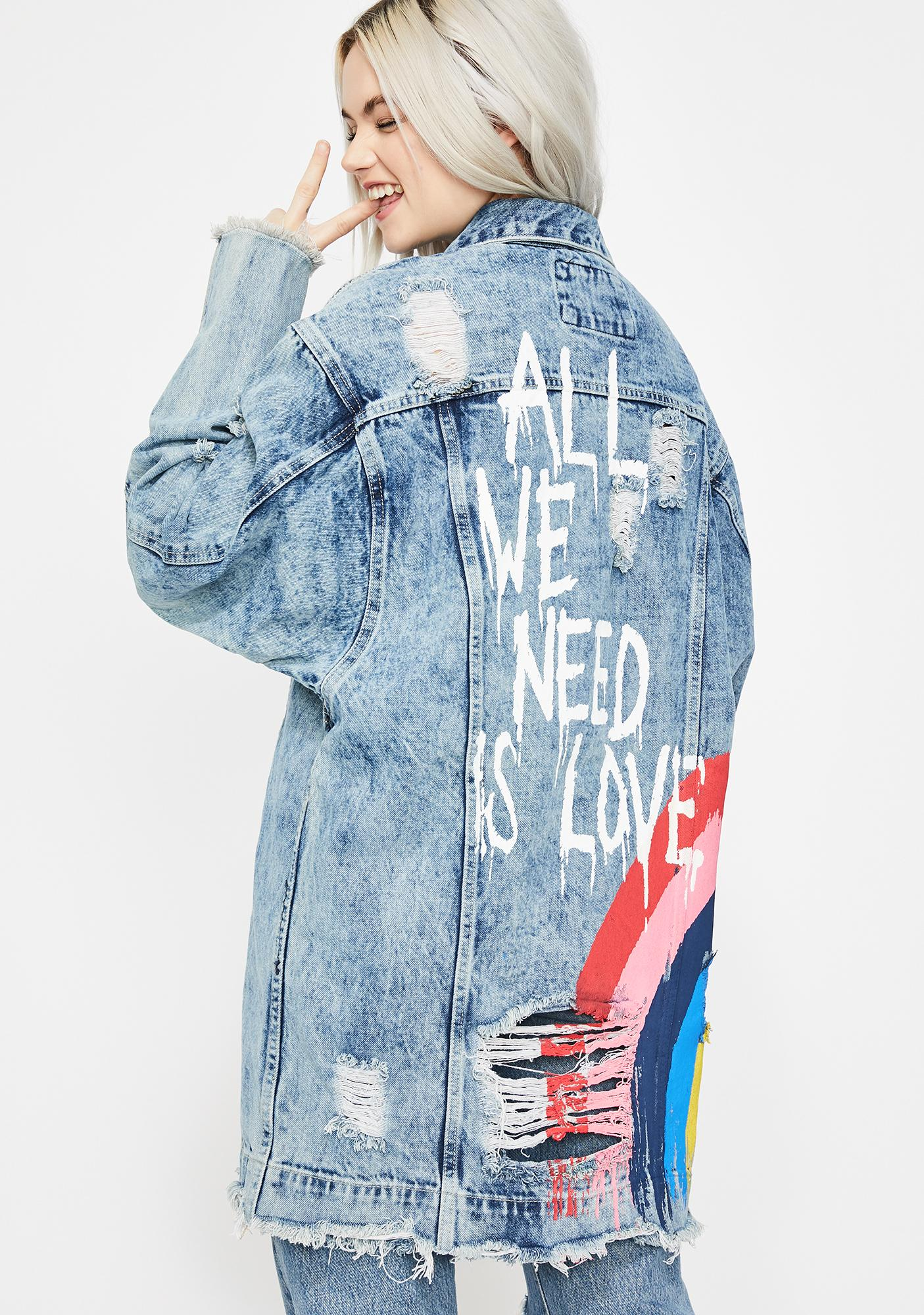 8af58073 All You Need Is Love Denim Jacket | Dolls Kill