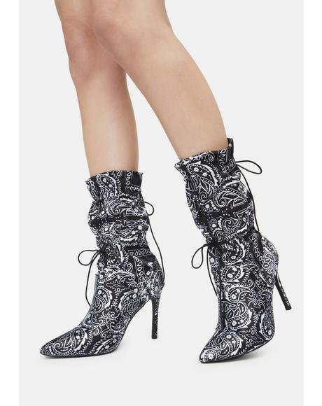 Night Money Making Madness Bandana Print Booties
