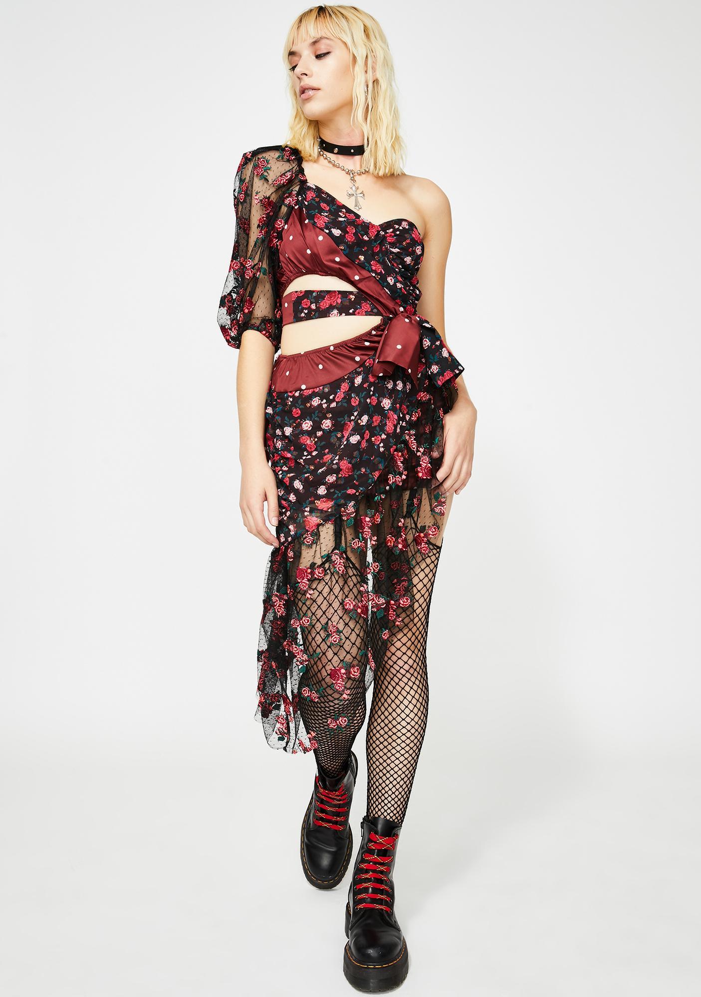 For Love & Lemons Cascade Embroidered Mini Dress