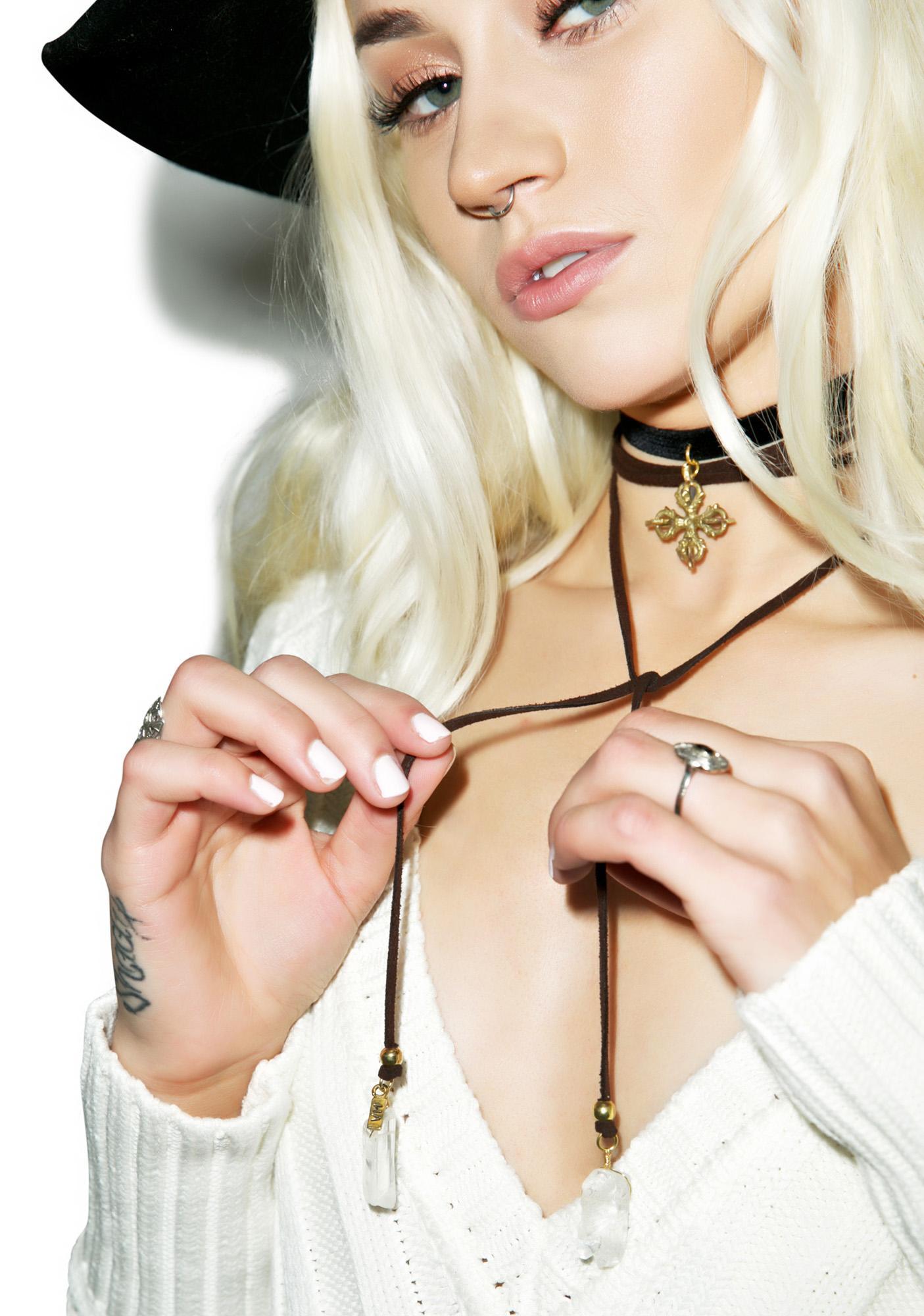Vanessa Mooney Crystal Persuasion Bolo Wrap Choker